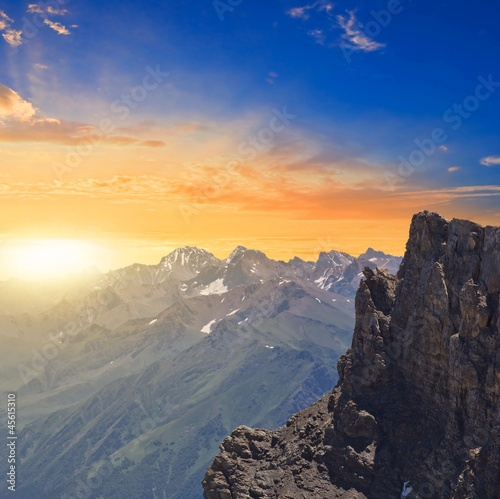 sunrise in a mountains