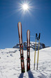 Ski, skiing, winter, snow and sun - space for text