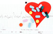medical pills on red heart with cardiogram