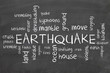 earthquake on blackboard - word cloud