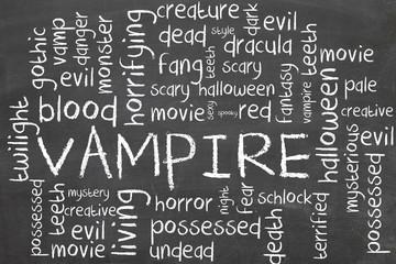 vampire on blackboard - word cloud