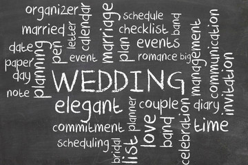 wedding on blackboard - word cloud
