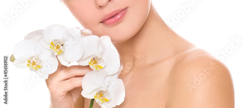 woman with white orchid