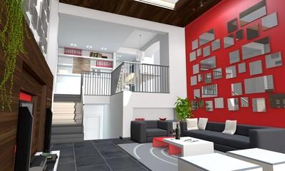 Wohnzimmer auf zwei Ebenen