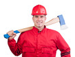 Young smiling fireman with hard hat, uniform holding ax