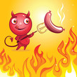 cute cartoon character devil roasting sausage on fire