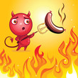 funny cartoon character devil barbecue
