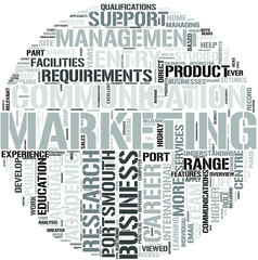 Marketing with Business Communication Word Cloud Concept