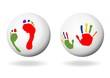 Hand- und Fußabdruck auf Kugel