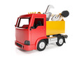 3d illustration: Transport technology. Truck and a box of tools,