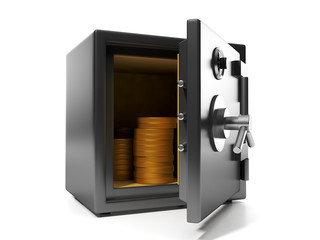 3d illustration: Money savings. Group of coins in the safe keepi