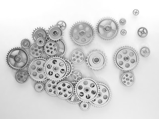 3d illustration: Ideas, a group of gears in the form of the brai