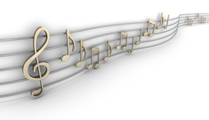 Set of nine musical notes isolated on white