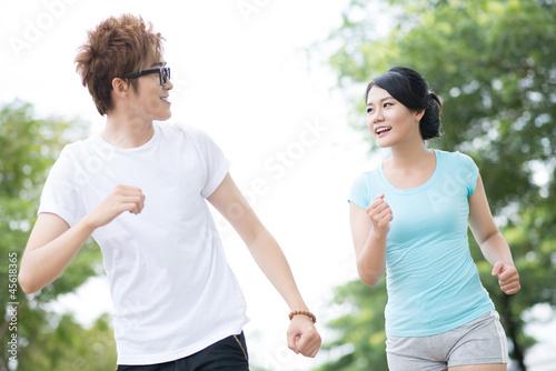 Cheerful joggers