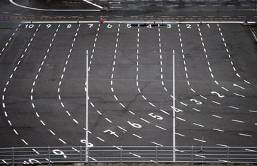 Ferry terminal asphalt area with marking lines and numbering