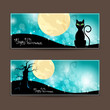 Vector Illustration of Two Decorative Halloween Banners