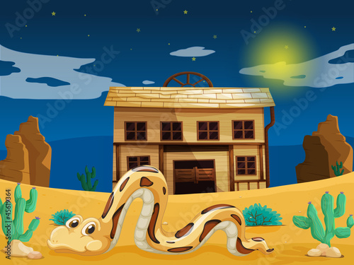 Fotobehang Indiërs snake in front of house