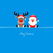 Sitting Rudolph & Santa Iceblue Background