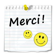 "Message ""MERCI"" (sourire gentillesse carte beaucoup plaisir mot)"