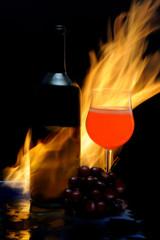 alevli şarap ve bardağı