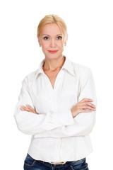 confident young business lady posing against white background