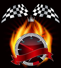 Checkered flag, speedometer. Vector Illustration.