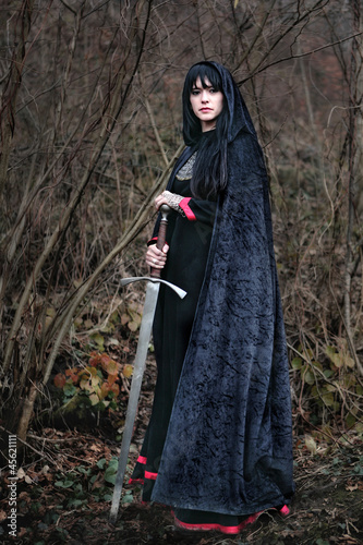 Portrait of a medieval lady with sword