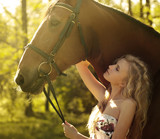 beautiful blonde and horse