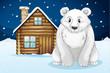 polar bear infront of house