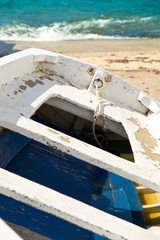 old boat on a sandy beach