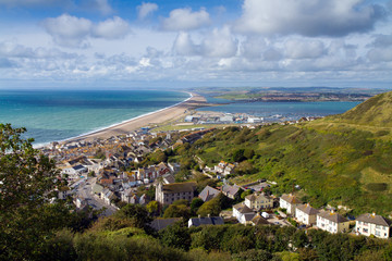 View over Weymouth, Portland and Chesil beach Dorset