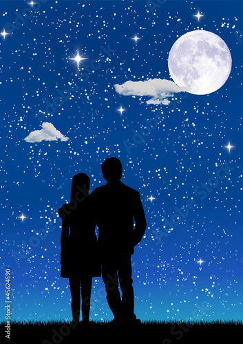 Couple kissing on the starry sky background.