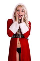 Christmas santa woman surprised