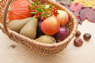 Harvest festival fruit and vegetables basket