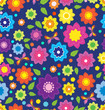 Floral seamless color pattern with flowers and butterfly