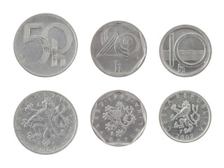 Old Czech Coins Isolated on White