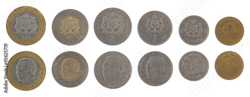 Moroccan Coins Isolated on White