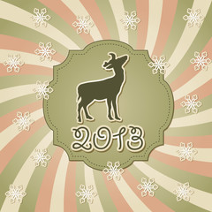Vector New Year Greeting Card with Deer