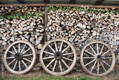Old Wood wheels and wood piles
