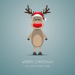 reindeer with santa claus hat