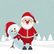 santa claus and snowman landscape