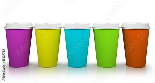 Five paper cups of coffee isolated on white background illustrat
