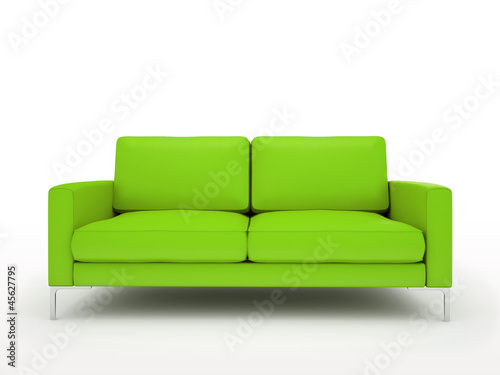 Modern green sofa isolated on white background