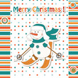 Christmas greeting card with cartoon  snowman skiing
