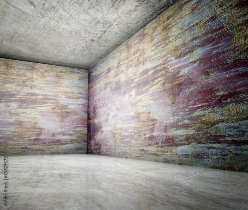 3d corner of old grunge concrete interior