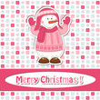 Christmas greeting card with cartoon  snowman