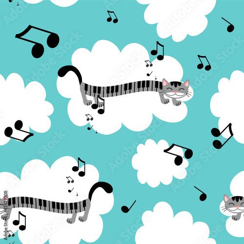 Music kitty seamless pattern