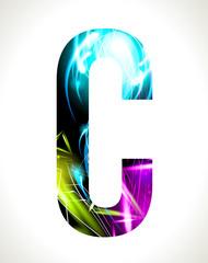 Vector design light effect alphabet. Letter  C.