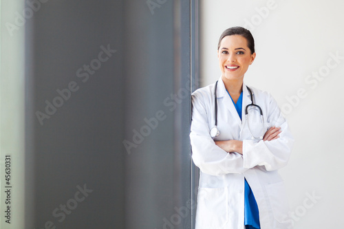 attractive young female medical doctor portrait in office