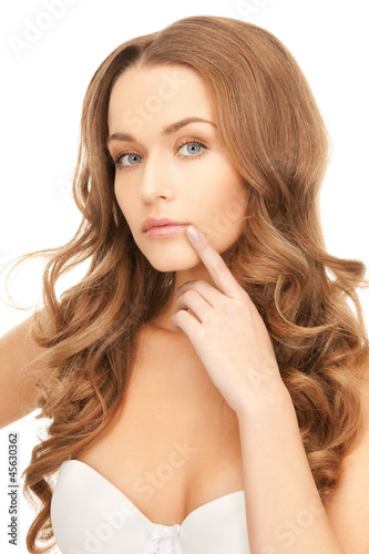 pensive woman with long hair